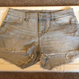 Gray denim cut off shorts